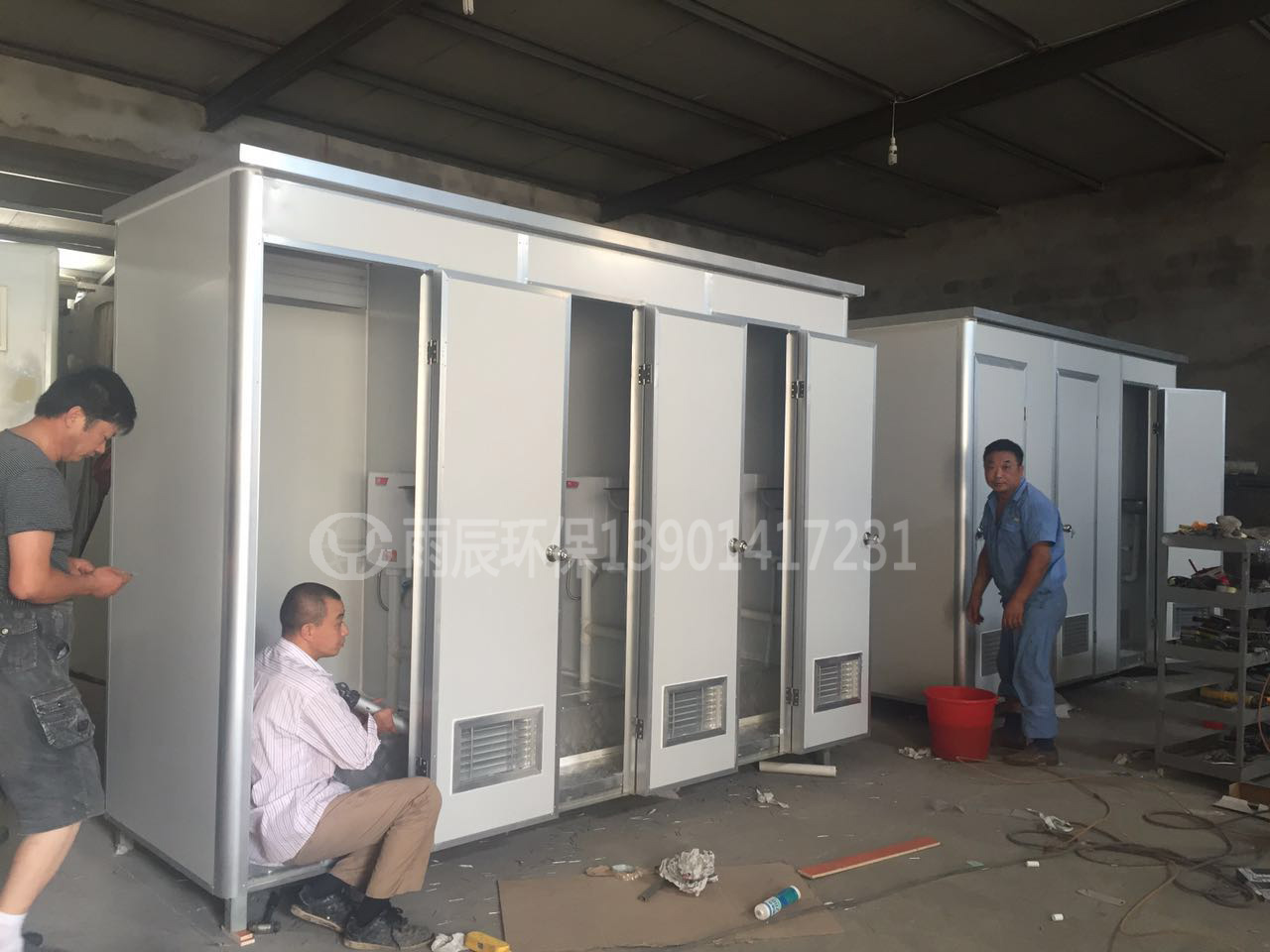 WCM-JY30103 彩钢板三连体水冲公厕
